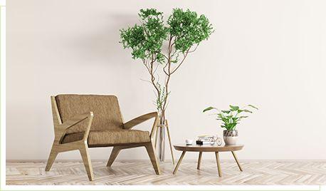 ソファと観葉植物とサイドテーブル