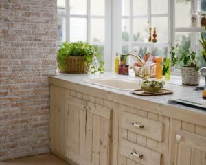 観葉植物の置かれた木目調のキッチン